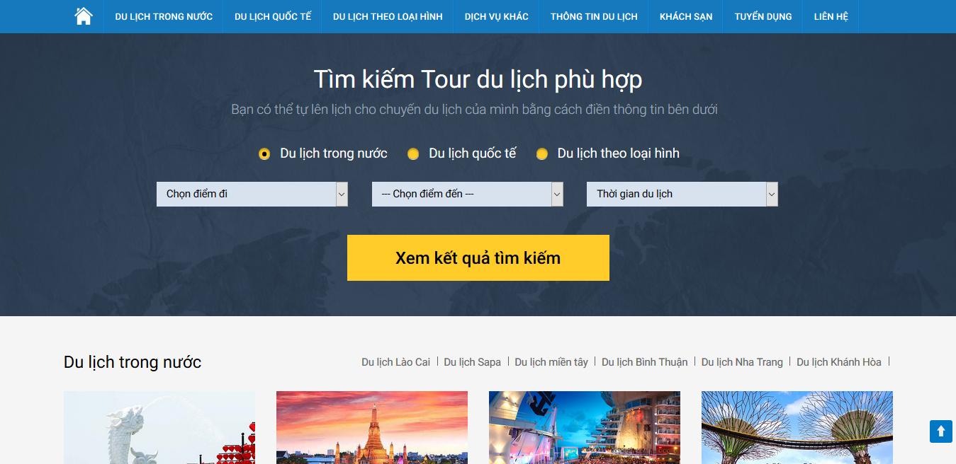 Mẫu Thiết Kế Website Du Lịch - Ngành Lữ Hành 02