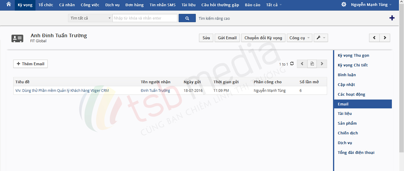 Gửi email trong Vtiger CRM